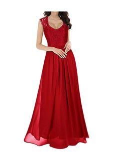 5d7eac3dbf Women s V Neck Lace Ball Gown Long Chiffon Evening Dress Prom dress
