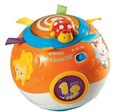Vtech Move & Crawl Ball - teaches little learners to recognize different shapes, numbers, animals, and animal sounds - for ages 3 months to 3 years.