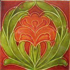 Great Art Nouveau design from Sherwin & Cotton c1906 the red glaze has again crossed the relief moulded cloisonné lines, see many other good examples of Sherwin's design's in the book Art Nouveau Tiles with Style.