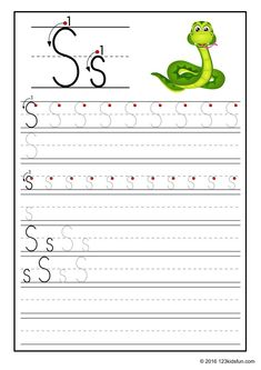 FREE Tracing Worksheet for Kids. Education Craft and Worksheet for Preschool,Toddler and Kindergarten. Learn to write the alphabet with 123 Kids Fun. Letter S Activities, Free Printable Alphabet Worksheets, Alphabet Writing Worksheets, Alphabet Writing Practice, Alphabet Tracing, Preschool Writing, Preschool Letters, Preschool Worksheets, Phonics Flashcards