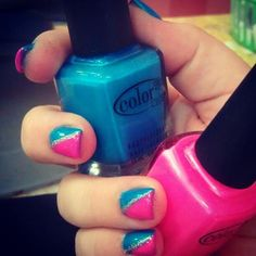 My very own summer vacation nail design. Reminds me of cotton candy :)