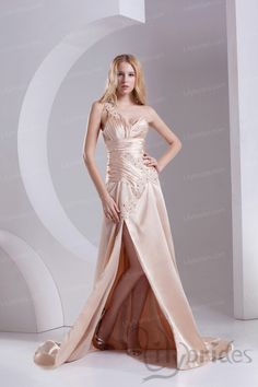 A-line One-shoulder Sweetheart Stretch Satin Sweep/Brush Train Evening Dress
