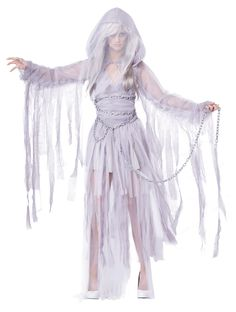 Haunting Beauty Ladies Ghost costume - Calgary, Alberta. Exquisite, ethereal, this gossamer light and floaty Haunting Beauty Ladies Ghost Costume will spirit you away this Halloween night as you spook your way through trick or treating, or partying with other supernatural friends.  All pearly grey/ white this short Ghost dress gives great coverage. At the bust it is gathered and shaped carefully over the shoulder.