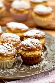 pudding muffins with rhubarb