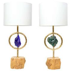 Unique Pair of Travertine, Brass and Murano Glass Lamps