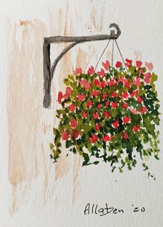 Stanton Allaben Gallery of Original Fine Art Watercolor Cards, Watercolor Flowers, Watercolor Landscape, Drawing Flowers, Painting Flowers, Watercolor Paintings For Beginners, Learn To Paint, Hanging Baskets, Art Drawings