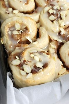 Triple Almond Sticky Buns - soft fluffy almond cinnamon buns are a hit every time I bake them! Sticky Buns, Sweet Bread, Coffee Cake, Cinnamon Rolls, Just Desserts, Food Inspiration, The Best, Breakfast Recipes, Sweet Tooth