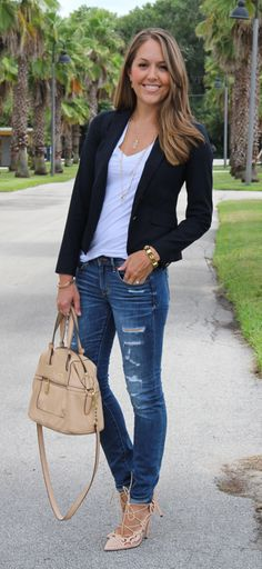 Nude heels, jeans and black blazer