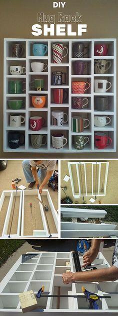 DIY Mug Cubby Shelves Diy Home Decor Easy, Trendy Home Decor, Easy Diy, Modern Decor, Diy Kitchen Storage, Diy Storage, Storage Rack, Storage Ideas, Easy Shelves
