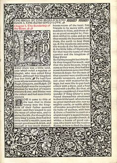 William Morris -   The well at the world's end. London: Kelmscott Press, 1896.   With wood engraved illustrations after Edward Burne-Jones; quarto; Chaucer type; limp vellum cover; edition of 350  opening