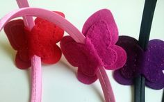 Felt headband - Fuchsia and pink butterfly Listing is for 1 headband.  Set includes: - 1 satin covered plastic headbands - 1 large butterfly   Handmade from wool blend felt and cotton...