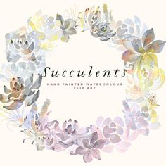 Watercolour Succulent Clipart, Hand Painted Graphics - Succulent