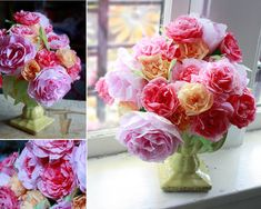 Aunt Peaches: Coffee Filter Roses DIY and tips for how to dye the coffee filters too! Coffee Filter Roses, Coffee Filter Crafts, Coffee Filters, Fake Flowers, Diy Flowers, Tissue Flowers, Flower Bouquets, Rose Bouquet, Fabric Flowers