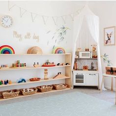 This playroom = perfection! The Ikea play kitchen features our wooden h… This playroom = perfection! The Ikea play kitchen features our wooden herringbone splashback.