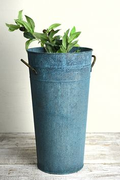 Aqua Verdigris Flower Bucket w/Handles 15 inches -- Learn more by visiting the image link. (This is an affiliate link) #Vases