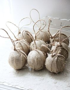 Burlap Rag ball Christmas tree ornaments, set of 9, natural or white, now available year round!