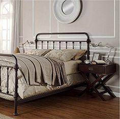 Amazon.com: Giselle Antique Dark Bronze Graceful Lines Victorian Iron Metal Bed (Queen Size): Kitchen & Dining