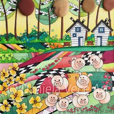 Landscape with free pigs in the meadows, flowers, stones, trees and houses.