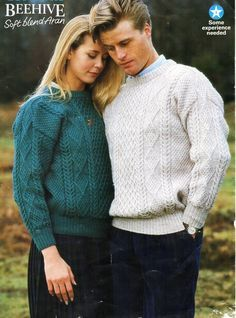 womens / mens aran sweater knitting pattern pdf ladies cable jumper crew neck vintage 32-46 inch aran worsted 10ply Instant download by Hobohooks on Etsy