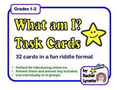 What am I? Task Cards: 32 Riddle Inference Cards for Grades 1-2. $