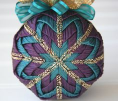 Quilted Christmas Ornament Ball/Teal, Purple and Gold - Enchanted Evening