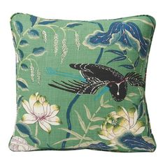 Schumacher Lotus Garden Japanese Floral Jade Green Linen Two-Sided Pillow For Sale at Floral Pillows, Linen Pillows, Decorative Pillows, Throw Pillows, Cushions, Best Pillows For Sleeping, Lotus Garden, Modern Pillows, Colorful Garden