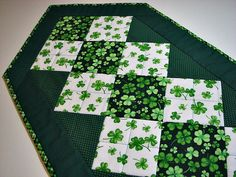 Quilted Table Runner, St. Patrick's Day Table Runner, Shamrocks and Polka Dots, Spring Table Mat, Quiltsy Handmade by VillageQuilts on Etsy