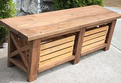 Rustic XLeg Wooden Bench with BuiltIn Crate Storage made from simple and An EASY DIY project Total cost Under 40