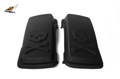 RS hard saddlebag lids skull design for touring 1993-2013 Image