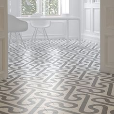 Those are hex tiles! Merola Tile Roll Hex White with Taupe Grey in. Porcelain Floor and Wall Tile sq. / case)-FPERLWG - The Home Depot Floor Patterns, Tile Patterns, Floor Design, Tile Design, Wall And Floor Tiles, Wall Tiles, Online Tile Store, Spanish Design, Tile Manufacturers