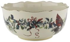 """Elegant 8"""" serving bowl with the classic Lenox Winter Greetings pattern of birds, berries and snow-covered branches. Crafted with Lenox ivory fine china & accented with 24 karat gold, light catching scalloped rim, washing by hand recommended. BRAND NEW IN ORIGINAL BOX."""