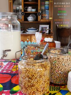 marta writes: love this idea of cereal jars for a baby blessing breakfast..who needs to stress on that day?