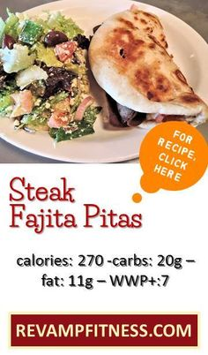 Enjoy these amazing Steak Fajita Pitas without having to feel guilt | Visit revampfitness.com NOW for lots of lovely low-cal recipes, as well as some truly amazing weight loss and fitness tips, to live the most healthy and slim life!