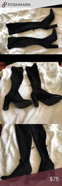 Steve Madden black suede over the knee boots Steve Madden black suede over the knee boots size 6  Almost perfect condition, one tiny scuff on the upper inner side of the right shoe.  Worn twice.  Selling because they aren't my style anymore. Steve Madden Shoes Over the Knee Boots