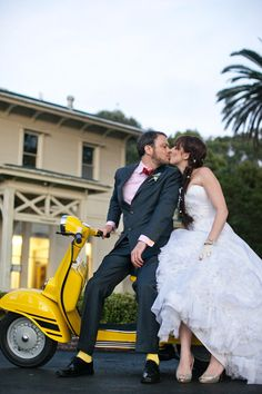Shannon Leahy Events - San Francisco Wedding - General's Residence - Yellow Vespa - Bride and Groom - Kiss Lambretta Scooter, Vespa Scooters, Piaggio Vespa, Yellow Wedding, Dream Wedding, Vespa Wedding, Classic Vespa, Scooter Girl, Party Looks