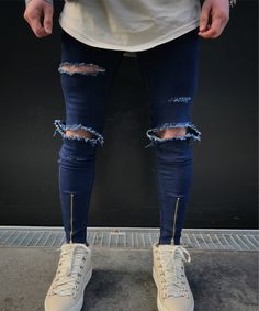 d0979570c0f 2017 Newest Boys Mens Fashion Blue ripped Skinny Stretch Biker Zipper Jeans  Pant Knee Hole Trousers