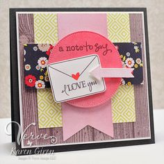 Card by Karen Giron using Take Note from Verve Stamps.  #vervestamps