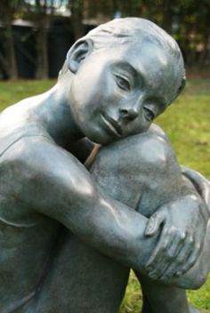 Bronze Sculptures of females by artist Veda Hallowes titled: 'Liberty (bronze sitting Young Girl Dreaming statue)'