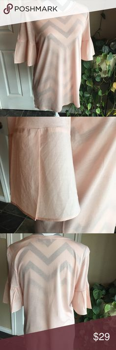 Loft 1/2 bell sleeve tee Peach colored tee with 1/2 sleeves.  Bell sleeve.  Only 1 time worn.  Great with just about anything, dress it up or down! 😻 LOFT Tops Tees - Short Sleeve
