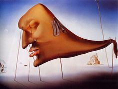 Salvador Dalí - Sleep, 1937 - Commissioned by Dali's patron of the time, Edward James, a British millionaire, this painting renders some of the common surrealist subjects – phenomenon of sleep, subconscious mind and freedom of the oneiric world.