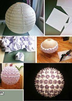Level: easy // Einfache Papierlampe aufgepeppt! // Gesehen bei: http://eenigwonen.nl/wat-kun-je-met-bollampen/