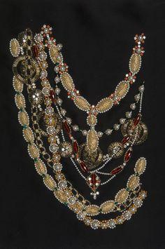 "Sample of an embroidery by Lesage for Chanel - Karl Lagerfeld 1983. An imitation of necklaces in beads, sequins, etc. Exhibition ""Trompe-l'oeil, Imitation, pastiches et autres illusions"", Musee Les Arts Décoratifs 107, Paris. 2 février 2012- 15 novembre 2013."