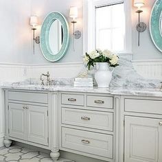 Gray Double Vanity with Oval Turquoise Mirrors
