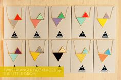 Twin Triangle necklaces by The Little Drom