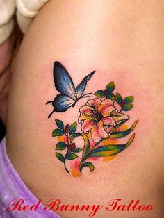 Flower&butterfly2(花と蝶)「吉祥寺 RED BUNNY TATTOO」タトゥーの画像,デザイン