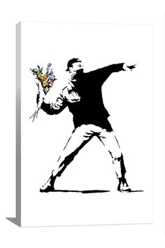 Banksy Rage Flower Thrower 18in x 12in Canvas Print