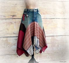 Hippie Chic Women's Jean Skirt Rustic Patchwork Boho Clothing Lagenlook Style Peasant Ragdoll Layer Draped Music Festival Skirt L/XL 'ASTRID
