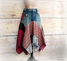 Hippie Chic Women's Jean Skirt Rustic Patchwork Boho Clothing Lagenlook Style Peasant Ragdoll Layer Draped Music Festival Skirt L/XL 'ASTRID