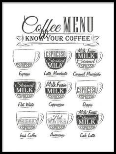 Trevlig poster med kaffe meny