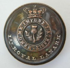 Victorian Officers 1st Royal Lanark Militia. Silvered Button. (Scottish)